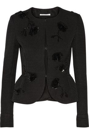 OSCAR DE LA RENTA Sequin-embellished jacquard peplum jacket
