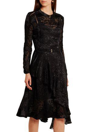 PREEN by THORNTON BREGAZZI Amendine lace-trimmed devoré-chiffon dress