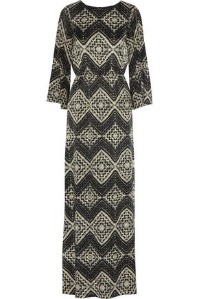 ALICE + OLIVIA Christabel printed silk-chiffon kaftan dress