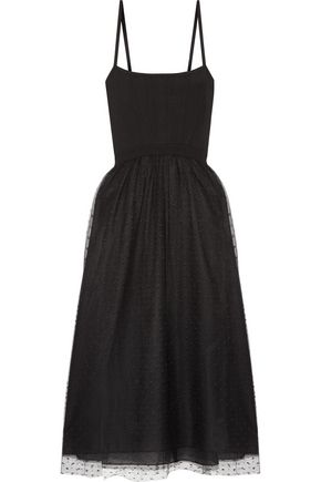REDValentino Stretch-knit and point d'esprit tulle midi dress