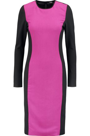 RAOUL Eva suede-trimmed ponte and stretch-crepe dress