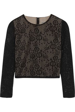 ALICE+OLIVIA Bernie cropped crocheted top