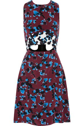 TANYA TAYLOR Mallory cutout printed silk mini dress
