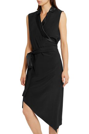 BAJA EAST Asymmetric satin-trimmed crepe dress
