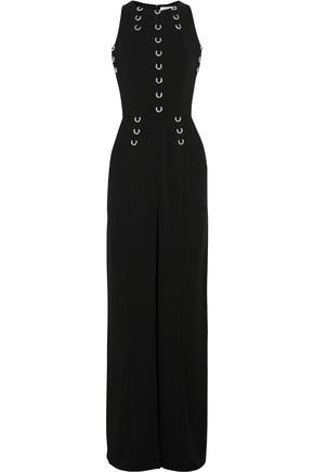 MUGLER Embellished cutout stretch-crepe gown