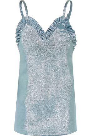 JACQUEMUS Ruffled knitted lamé mini dress