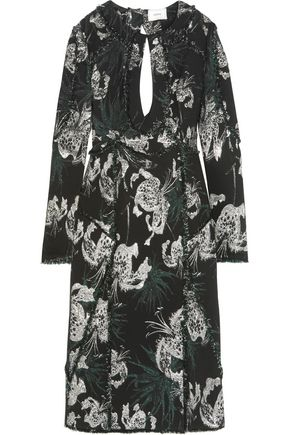 ERDEM Chrissy frayed cutout metallic jacquard dress