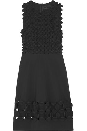 PASKAL Laser-cut appliquéd tech-crepe dress