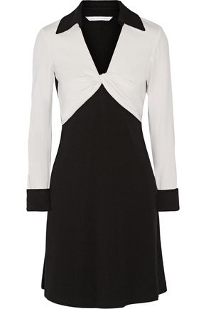 DIANE VON FURSTENBERG Twist-front two-tone wool dress