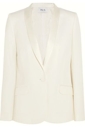 PALLAS Satin-trimmed wool-crepe blazer