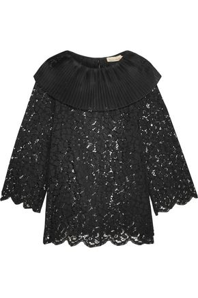 MERCHANT ARCHIVE Pleated silk organza-trimmed corded lace top