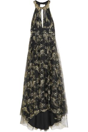 MARCHESA NOTTE Embroidered beaded metallic tulle gown