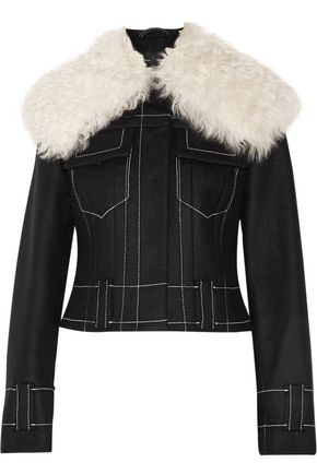 PROENZA SCHOULER Shearling-trimmed wool-blend flannel jacket