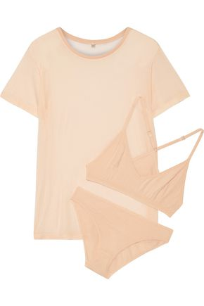 BASERANGE Bamboo-jersey T-Shirt, soft-cup bra and briefs set