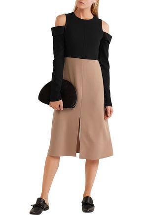 TIBI Cutout two-tone stretch-crepe dress