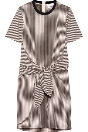 3.1 PHILLIP LIM Tie-front cutout striped cotton and silk-blend Oxford mini dress