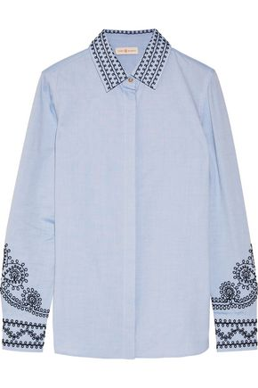 TORY BURCH Embroidered cotton-chambray shirt