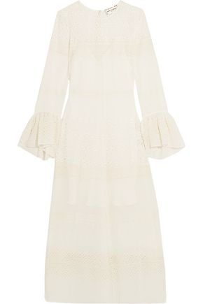 SAINT LAURENT Ruffled broderie anglaise georgette midi dress