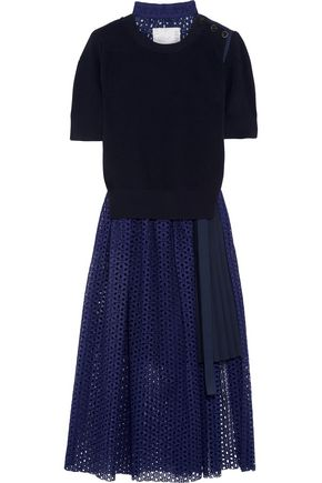 SACAI Knitted and broderie anglaise cotton midi dress