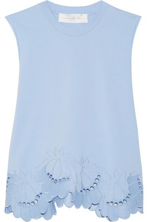 VICTORIA, VICTORIA BECKHAM Delft embroidered stretch-cotton top