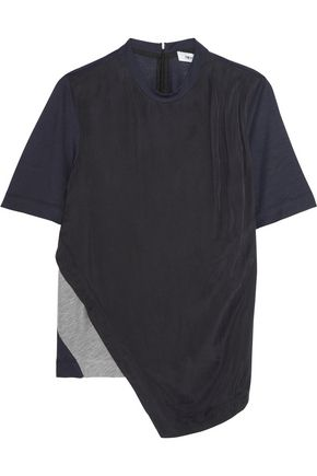 TIM COPPENS Asymmteric washed-crepe de chine and jersey top