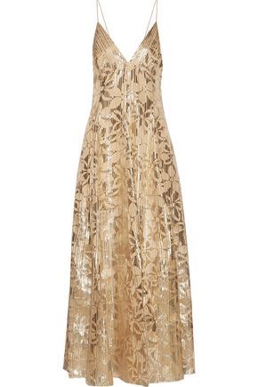 HANEY Michelle burnout metallic organza gown