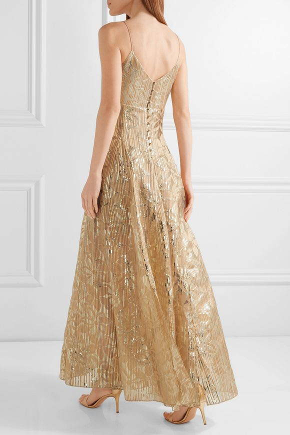 Michelle burnout metallic organza gown | HANEY | Sale up to 70% off | THE  OUTNET