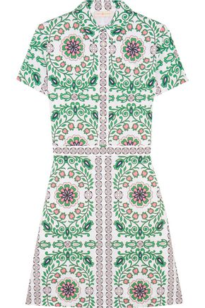 TORY BURCH Port printed cotton-blend mini dress