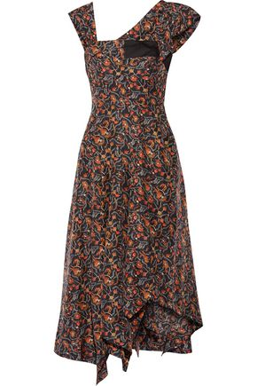 ISABEL MARANT Rocky asymmetric printed silk-voile midi dress