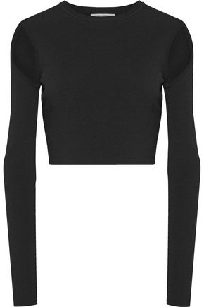 OPENING CEREMONY Cropped cutout stretch-knit top