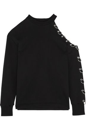 CHRISTOPHER KANE Cutout embellished cotton-jersey sweatshirt