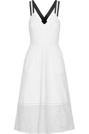 MARKUS LUPFER Grosgrain-trimmed broderie anglaise cotton midi dress
