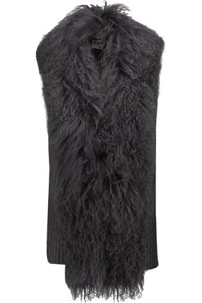 HAUTE HIPPIE Shearling-trimmed ribbed merino wool vest