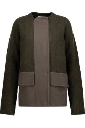 JIL SANDER Paneled fleece and wool-blend coat