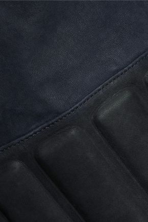 J BRAND Goodall leather-trimmed suede biker jacket