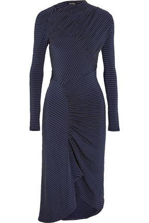 ATLEIN Ruched printed stretch-jersey dress