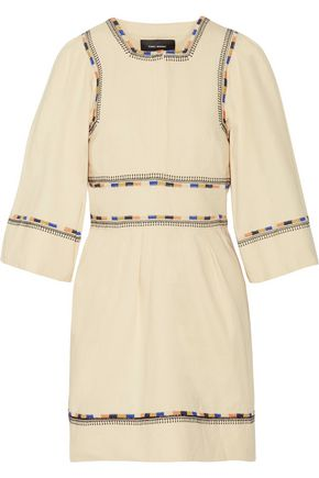 ISABEL MARANT Shayne embroidered cotton-twill mini dress