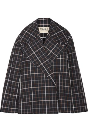 A.W.A.K.E. Jellycheck oversized cotton-blend twill jacket