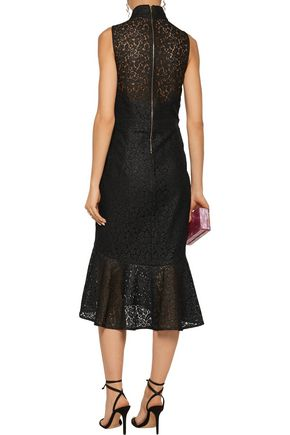 REBECCA VALLANCE Cutout ruffled corded lace midi dress