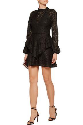 REBECCA VALLANCE Cutout ruffled corded lace mini dress