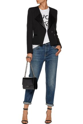 IRO Sarix satin and leather-trimmed wool-blend jacket