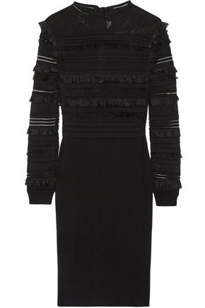 OSCAR DE LA RENTA Ruffle and fringe-trimmed silk-blend dress