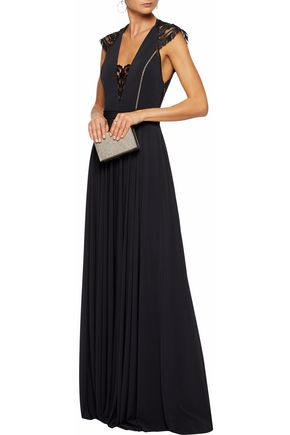 CATHERINE DEANE Embroidered mesh and pleated jersey gown