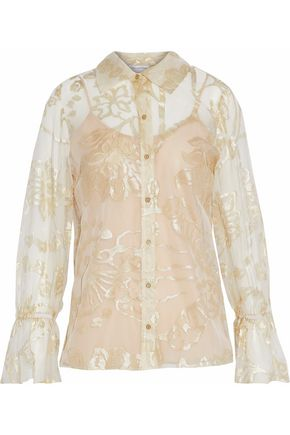 OSCAR DE LA RENTA Metallic silk brocade blouse