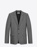 SAINT LAURENT Blazer U Two-button jacket in gray wool and mohair f
