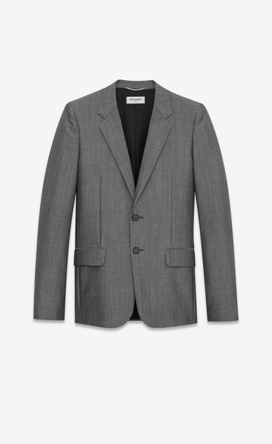 SAINT LAURENT Blazer Jacket Man Two-button jacket in gray wool and mohair a_V4