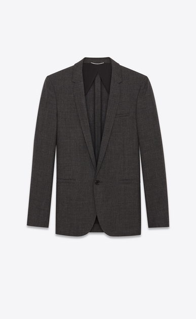 SAINT LAURENT Blazer Jacket Man Long jacket in anthracite wool a_V4