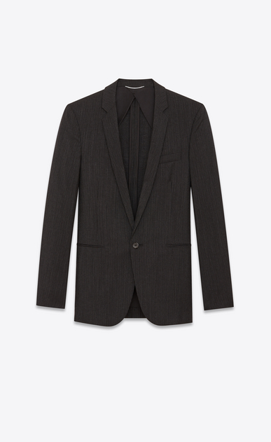 SAINT LAURENT Blazer Jacket Man Straight-cut jacket in wool and mohair with black and chalk stripes a_V4