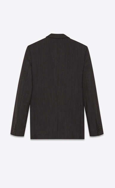 SAINT LAURENT Blazer Jacket Man Straight-cut jacket in wool and mohair with black and chalk stripes b_V4