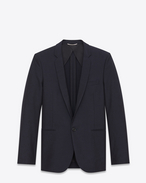 SAINT LAURENT Blazer U Straight-cut jacket in navy blue cotton canvas and mohair f